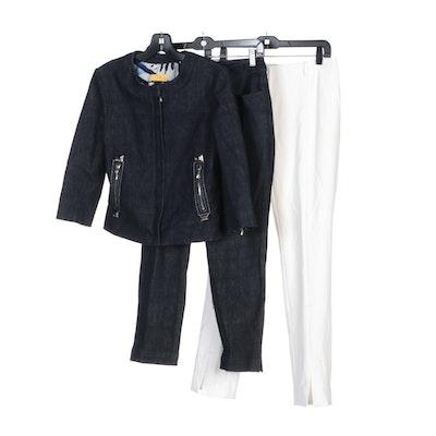 St. John White Trousers and SoCa by St. John Denim Style Pant Set