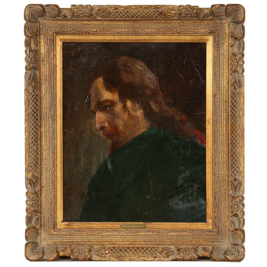 Miklos Mihalovits Portrait Oil Painting, Early 20th Century