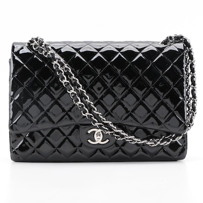 Chanel Classic Double Flap Bag Maxi in Black Patent Leather with Box