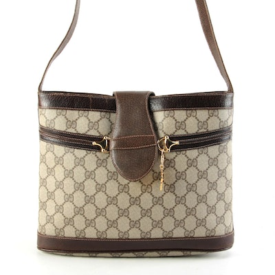 Modified Gucci Horsebit Shoulder Bag in GG Supreme Canvas with Leather Trim