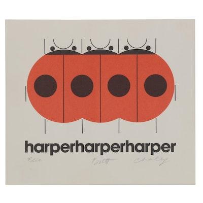 "Harper Studio Lithograph ""Harper Harper Harper,"" 1976"