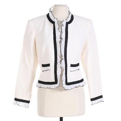 Neiman Marcus Exclusive Bouclé Jacket with Ruffle Trim