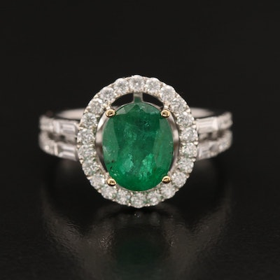 14K 2.10 CT Emerald and Diamond Ring