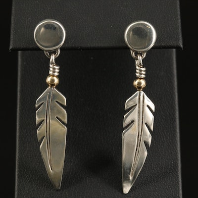 Ray Tracey Navajo Diné Sterling Feather Earrings with 14K Accent