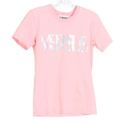 Versus by Versace Metallic Logo Short Sleee Tee in Light Pink