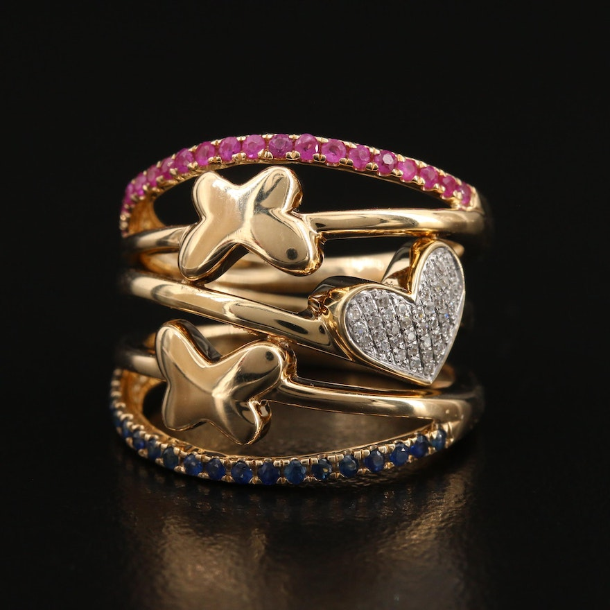 14K Diamond, Ruby and Sapphire Ring with Hearts and Butterflies