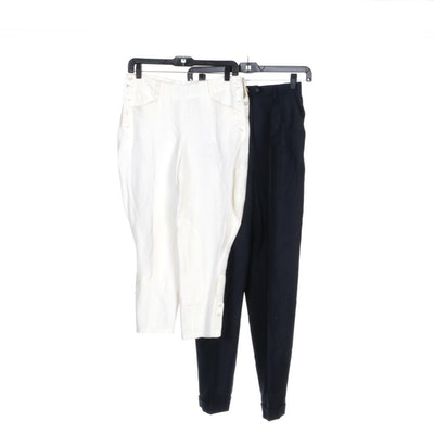 Ralph Lauren Navy and Ivory Linen Pants