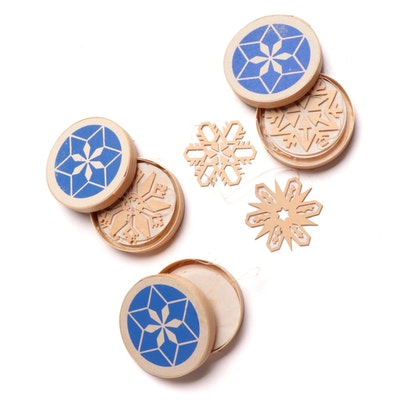 Expertic Erzgebirge Wooden Snowflake Christmas Ornaments