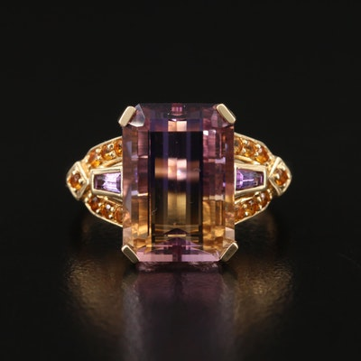 14K 7.25 CT Ametrine, Amethyst and Citrine Ring