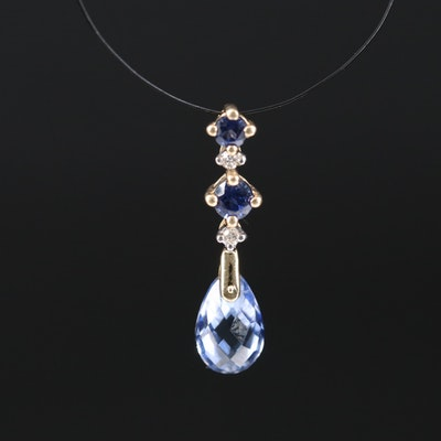 14K Sapphire and Diamond Drop Pendant