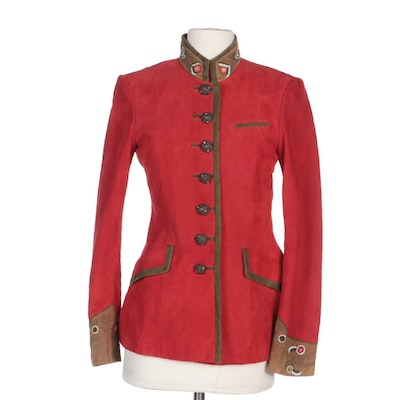 Meindl Jacket in Bright Red and Tan Suede with Embroidered Trim
