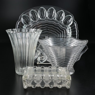 Pressed Glass Deviled Egg Dish, Vases, and Lidded Box, Mid to Late 20th C.