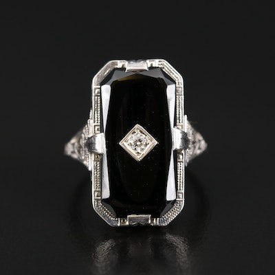 Art Deco 18K Black Onyx and Diamond Ring