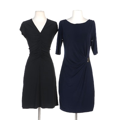 Elie Tahari Dresses with Ruching and Buckle Details in Navy and Black