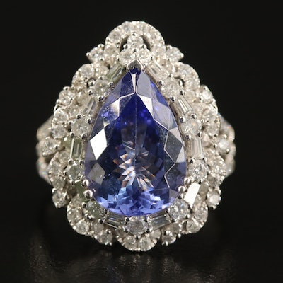 14K 5.08 CT Tanzanite and 1.42 CTW Diamond Teardrop Ring