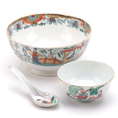 Chinese Porcelain Rice Bowl and Spoon with Other Ceramic Serving Bowl