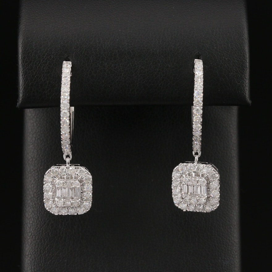 14K 2.07 CTW Diamond Drop Hoop Earrings