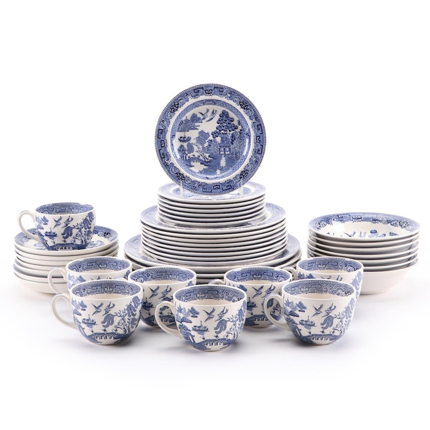 """Wedgwood """"Willow"""" Blue and White Porcelain Dinnerware, 1954–1991"""