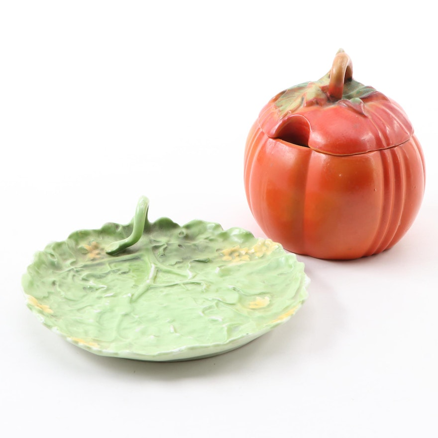 Royal Bayreuth Porcelain Cabbage Leaf Plate and Other German Tomato Sugar Bowl