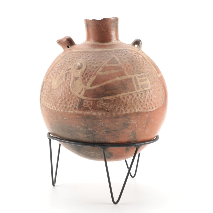 Pre-Columbia Peruvian Style Earthenware Vessel with Stylized Bird Effigy Motif