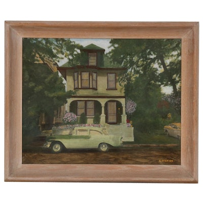 Oil Painting of Chevy Bel Air and Victorian Style House, Mid-20th Century