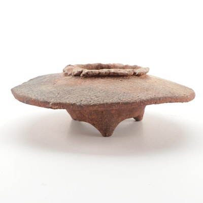 Pre-Columbian Style Earthenware Tripod Footed Disc Shaped Bowl
