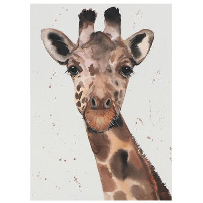 "Anne ""Angor"" Gorywine Watercolor Painting of Giraffe, 21st Century"