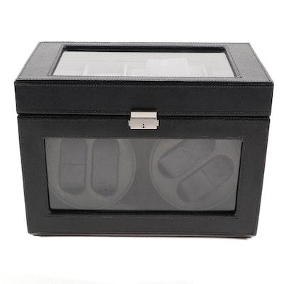 Bey-Berk Black Leather Watch Winder and Case