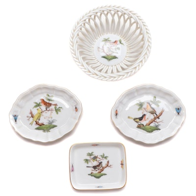 "Herend ""Rothschild Bird"" Porcelain Dishes and Basket Bowl"