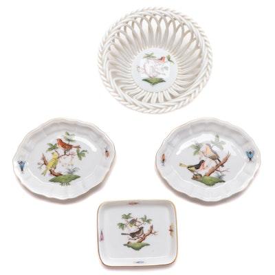 "Herend ""Rothschild Bird"" Porcelain Dishes and Basket Bowl"