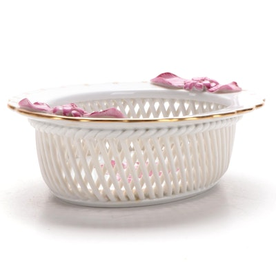 "Herend ""Chinese Bouquet Raspberry"" Porcelain Open Weave Basket"