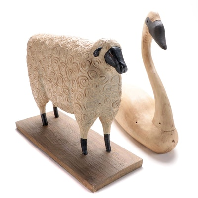 Primitive Style Wooden Swan and David Harden Sheep, Late 20th Century