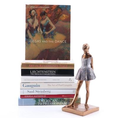 "Art Reference Books with ""Little Dancer"" Resin Sculpture After Edgar Degas"