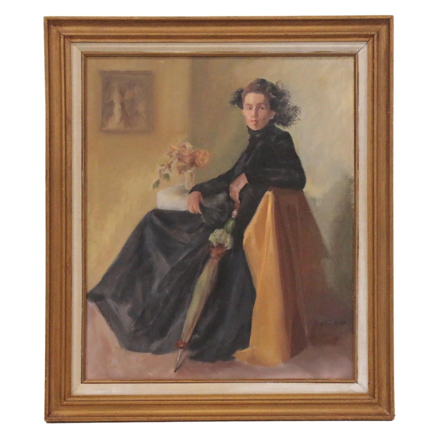"Vivian Blatt Oil Painting ""Study in Oil,"" Late 20th Century"