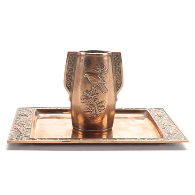 Cohen & Co. Ltd. Bronze Vase and Tray, Mid to Late 20th Century