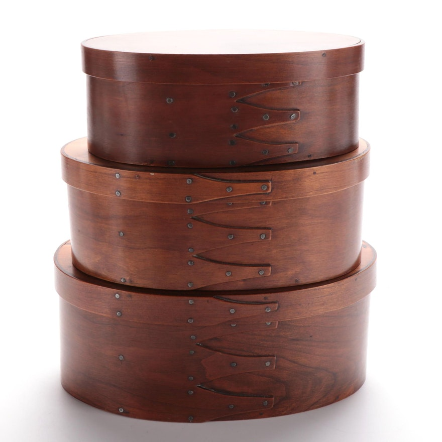 Contemporary Wooden Oval Nesting Boxes