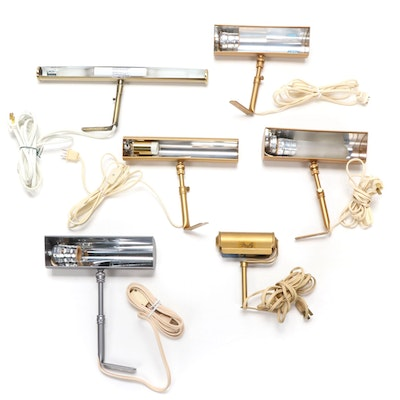 Six Gold Tone Metal Picture Lights, Mid to Late 20th Century