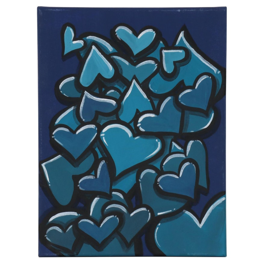 "Bee1ne Acrylic Painting ""Spread More Love (Indigo),"" 2020"