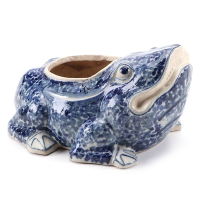 Blue and White Figural Toad Earthenware Planter