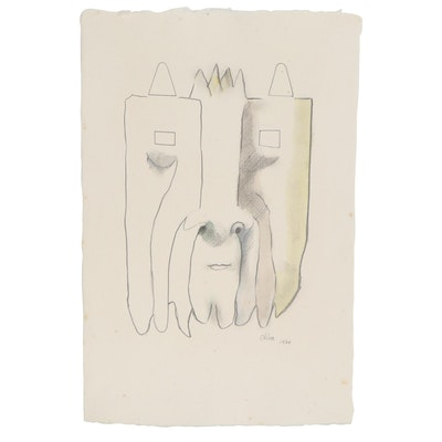 Eduardo Oliva Abstract Watercolor and Graphite Portrait, 1970