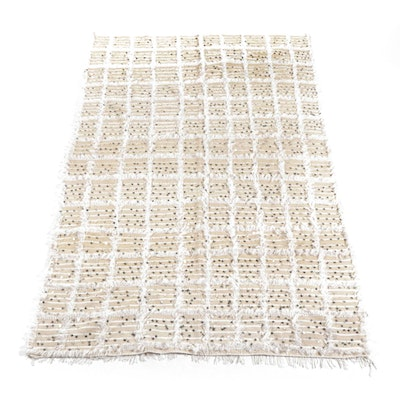 Handwoven Moroccan Wool and Metal Wedding Bedspread