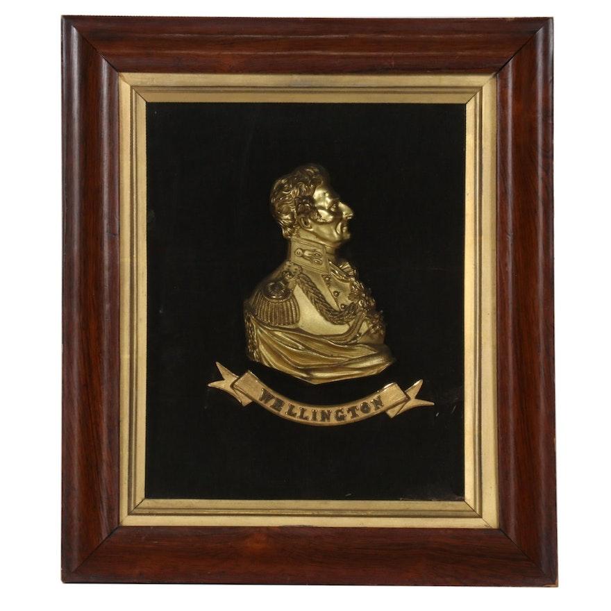 "Metal Sculptural Half Bust, ""Wellington"""