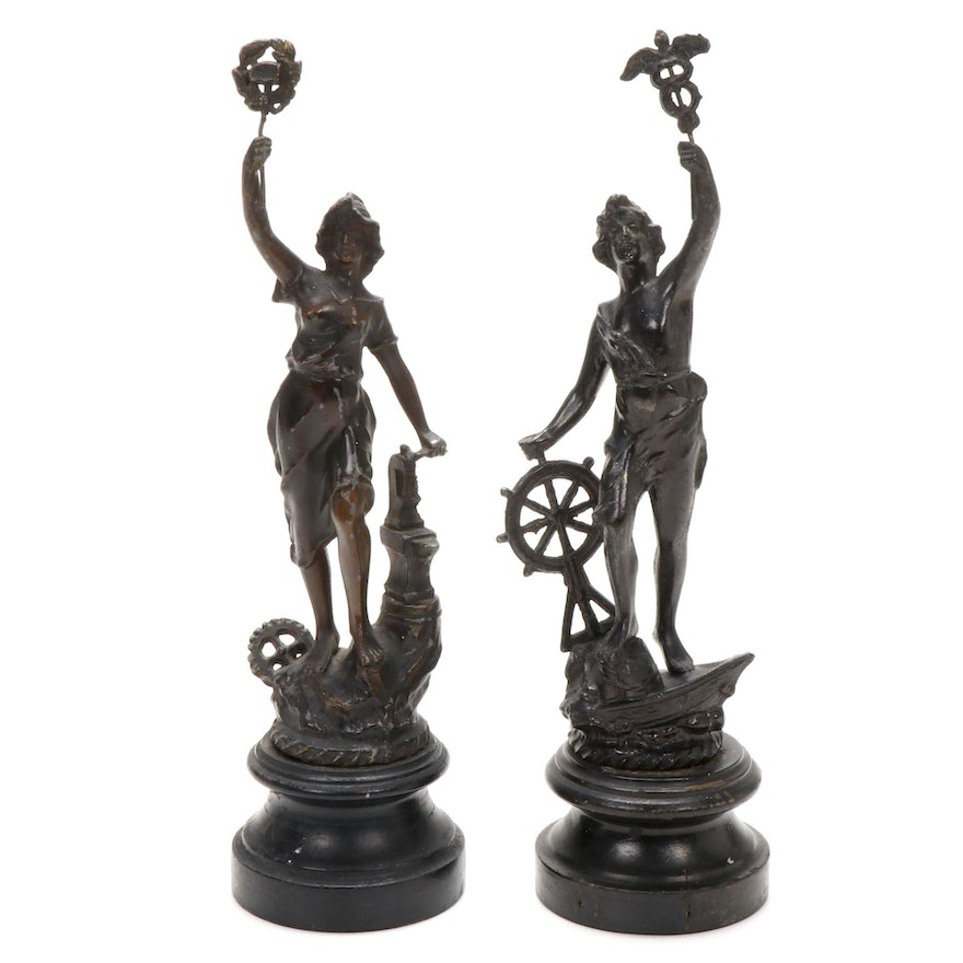 """Bronze Toned Spelter Sculptures """"Commerce"""" and """"Liberty"""""""