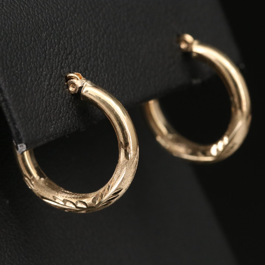 14K Engraved Hoop Earrings