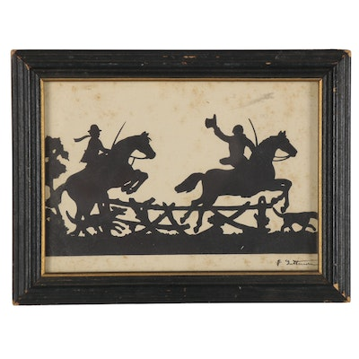 Equestrian Silhouette Oil Painting, Late 19th Century