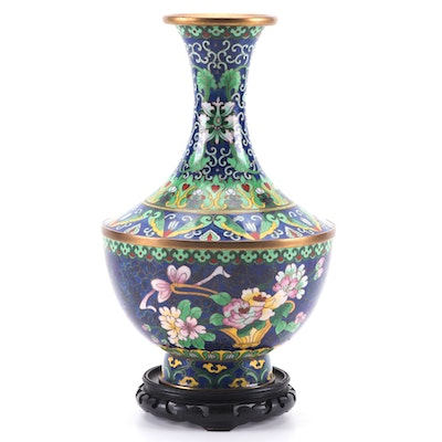 Chinese Cloisonné Floral Vase with Wood Stand, 20th Century