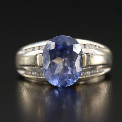 14K 3.75 CT Sapphire and Diamond Ring
