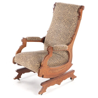 Victorian Walnut and Burl Walnut Platform Rocker, Late 19th Century