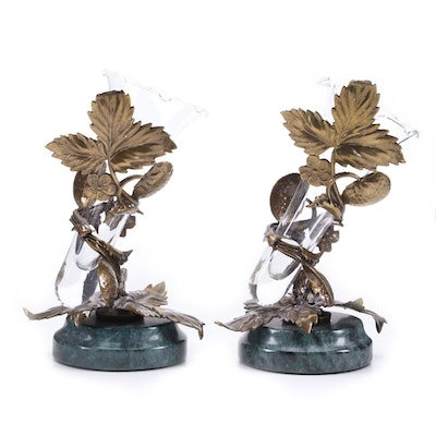 Pair of Victorian Style Bud Vases with Bronze Strawberry Leaf Design