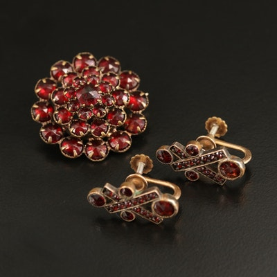 Vintage Glass Tiered Brooch and Garnet Screw Back Earrings